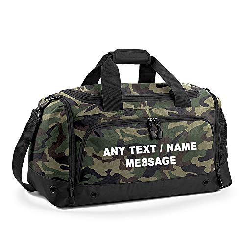 Personalised with your own Text/Message/Any name themed Team wear Gym Bag Locker Bag Plain Holdall Kit Unisex Backpack Dance/Ballet/Weekend Bag. (Jungle Camo)