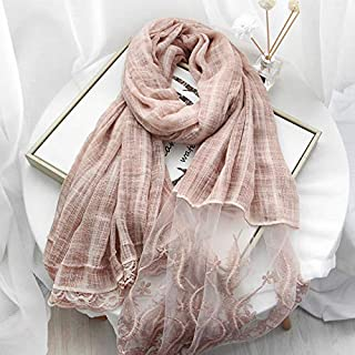 Winter Long Scarf Spring and Autumn Silk Scarf Two-Color Scarf Female Multi-Function Long Openwork lace Thin Section Wild Shawl Dual-use (Color : Grey) Winter Soft Scarf (Color : Pink)