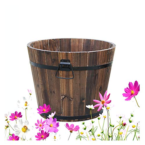 XJJUN Jardinera De Barril, Caja De Flores Cubo De Flores De Madera...