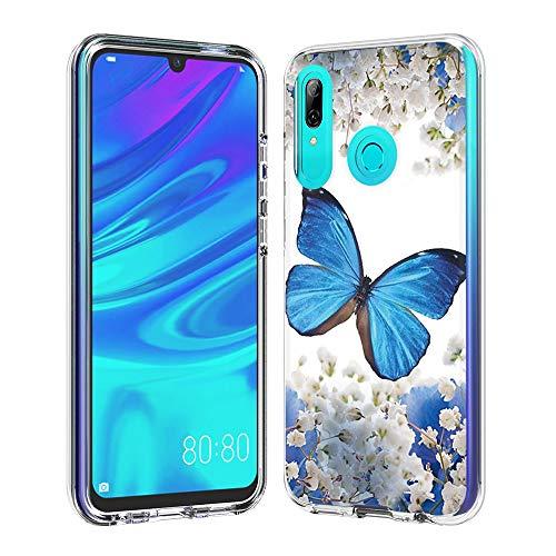 Coque Huawei P Smart (2019, Silicone Bumper, Transparent PC + TPU Hybride Boîtier de Protection avec Carte de Mode (Papillon Bleu)