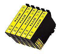 EPSONエプソン IC74 互換インクカートリッジIC74-Yイエロー 5本セット(方位磁石 インク)対応機種:PX-M5040C6,M5040C7,M5040F,M5041C6,M5041C7,M5041F,M5080F,M5081F,M740F,M740FC6,M740FC7,M740FC8,M741F,M741FC6,M741FC7,M741FC8,S5040,S5040C8,S5080,S740,S740C7 ICチップ付・残量表示付き