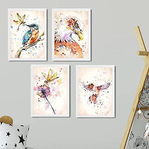 LangGe Pinturas decoración 4 Piezas 50x70cm sin Marco águila Flor búho pájaro Pared Arte Lienzo Pintura Carteles nórdicos e Impresiones Cuadros de Pared para decoración de Sala de Estar