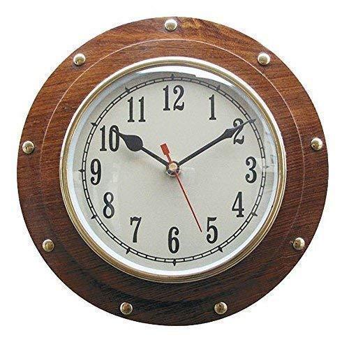 linoows Schiffs-Uhr, Wanduhr im Bullauge aus Holz, Kajüte-Uhr, Quartzwerk 23 cm