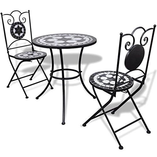 tavolo da giardino mosaico con sedie Festnight Set da Bistrò con Tavolo Rotondo e 2 Sedie Pieghevoli in Metallo con Mosaico
