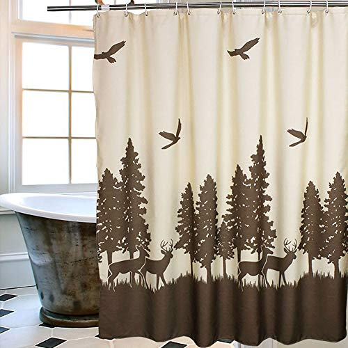 Uphome Deer in The Forest Fabric Shower Curtain - Hunting Theme Yellow and Coffee Country Moose Waterproof Mildew Resistant Bathroom Cloth Shower Curtain Cabin Decor, 72 X 72 Inch