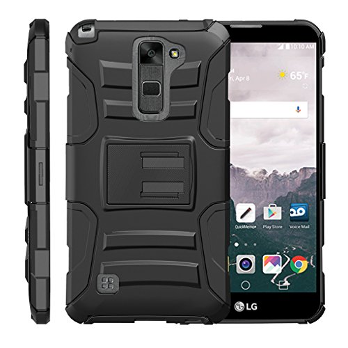 TurtleArmor | Compatible with LG Stylus 2 Case | LG G Stylo 2 Case [Hyper Shock] Rugged Hybrid Hard Shell Kickstand Fit Holster Clip Military War Robot Android - Black