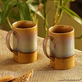 ExclusiveLane Dual-Glazed Studio Pottery Serving Tea Cups Set & Ceramic Coffee Mugs Set of 2 (300 ML, Mustard Yellow and Off White, Microwave & Dishwasher Safe)