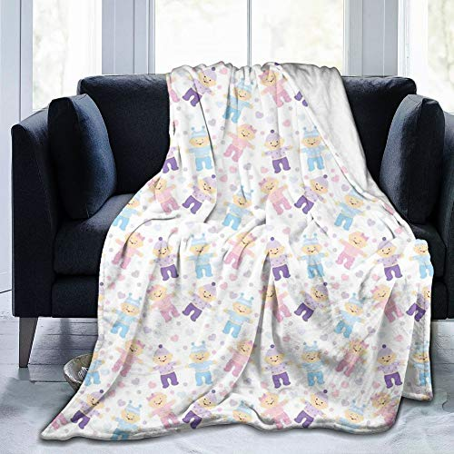 Papalikz Ultra-Soft Micro Fleece Soft and Warm Throw Blanket,Baby Shower Hearts and Colorful Dots Background with Newborn Babies Cartoon Characters,60\