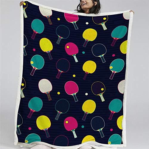 BSZHCT Kuscheldecke Sherpa Decke Flanell 150x200cm Farbiger Tischtennisschläger Gedruckte Decke Mikrofaser Fleecedecke Weich Dicke Wohnzimmerdecke Tagesdecke Sofadecke zweiseitige Decke