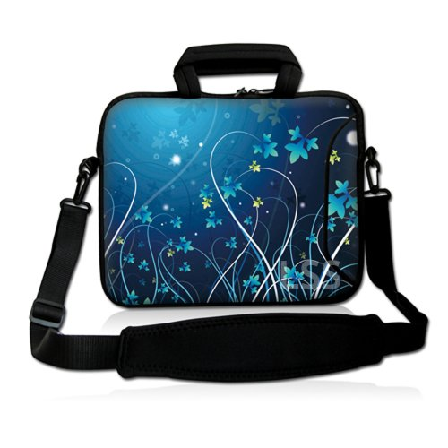 LSS 17 inch Laptop Sleeve Bag Notebook with Extra Side Pocket, Soft Carrying Handle & Removable Shoulder Strap for 16' 17' 17.3' 17.4' Apple MacBook Air, GW, Acer, Aspire Asus, Dell, HP, Sony, Toshiba, Samsung - Blue Swirl Mid Summer Night Floral