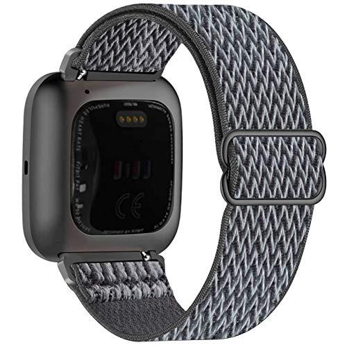 Fengyiyuda Nylon Correa Compatible con Fitbit Versa 2/Versa/Versa Lite/Versa SE,Elástico Bandas Suaves para Relojes Inteligentes, Seporte Hebillas Ajustables,correas de repuesto,Storm Gray