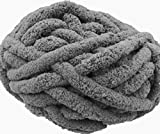 Chunky Chenille Yarn for Blanket,4 Pack 113 Yards Super Soft Thick Fluffy Jumbo Chunky Chenille-Style Polyester Yarn for Home Décor Projects,Arm Knitting (Dark Grey, 1kg / 29 oz / 113 Yards)