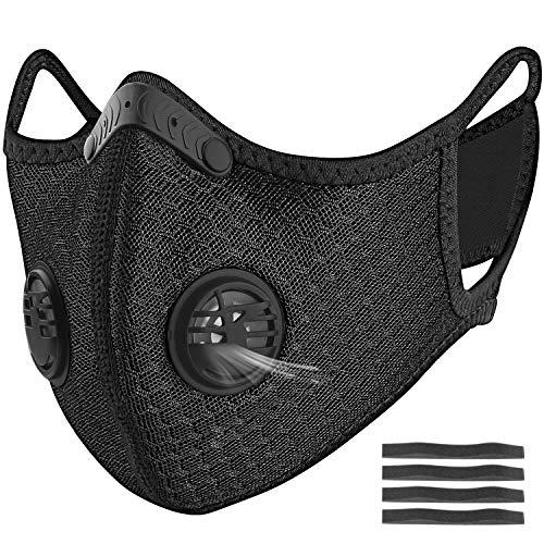 Dust Masks, UBRU Reusable Dust Mask for Woodworking Running Sanding Mowing Half Mask for Women Men Black