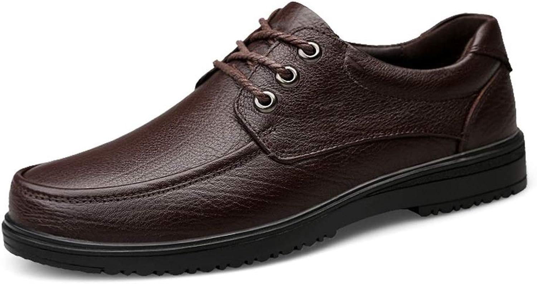 Qiming-MS Oxford Herren Krawattenschuhe Leichte Leichte Freizeit Driving Loafers Oxfords Leder Schnürschuhe runde Kappe Flache Penny für Abendschuhe (Farbe   Braun, Größe   38 EU)