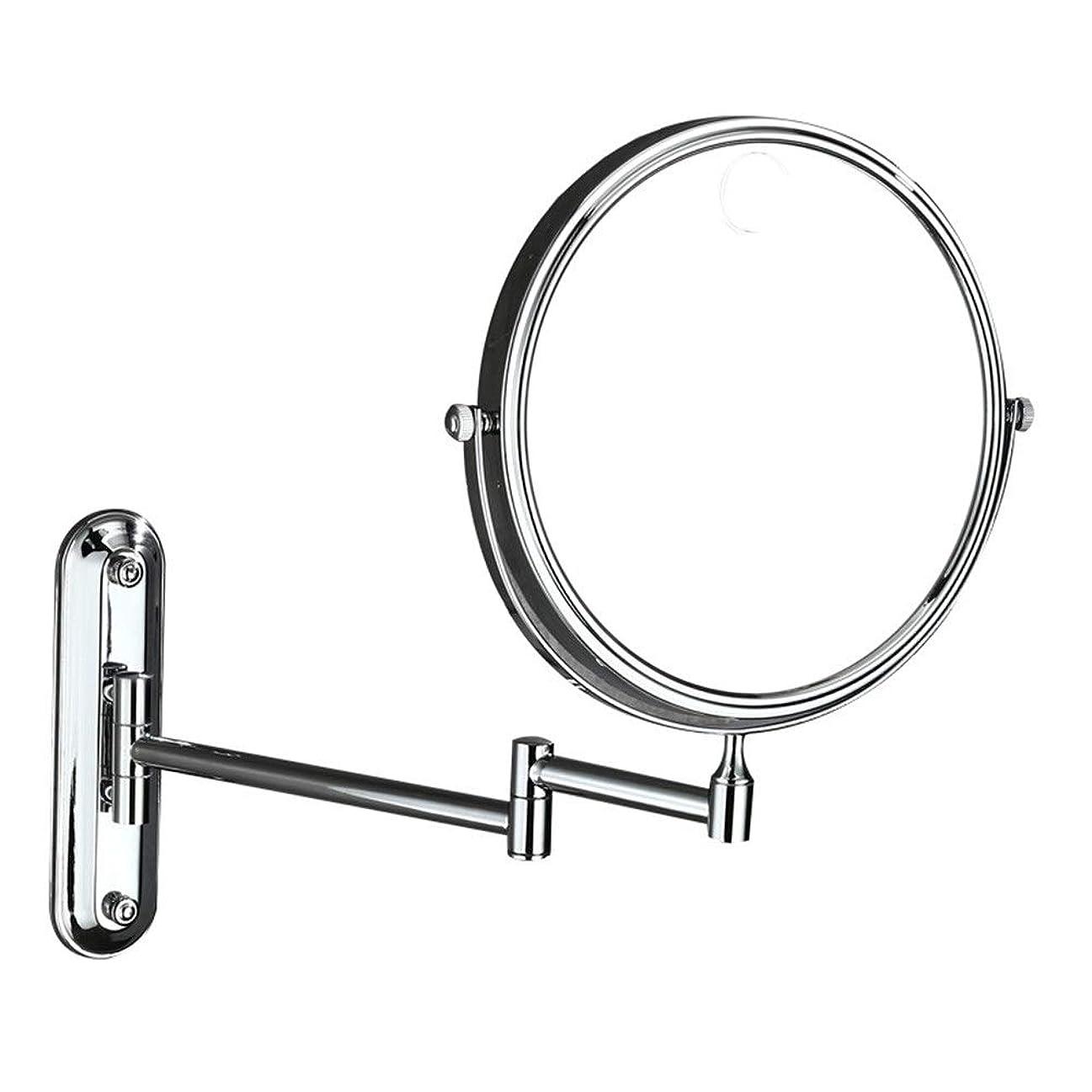 朝伝導伝統的充電式 化粧鏡 8インチ両面スイベル拡張可能な洗面化粧台ミラーヴィンテージベッドルームシェービング用ミラー3倍拡大鏡ウォールは、折りたたみ美容化粧鏡をマウント 寒暖色調節可能 化粧鏡 (色 : 銀, サイズ : ワンサイズ)