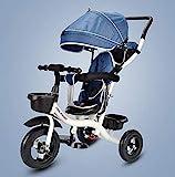 Aocean Bicicleta Triciclo Bebe Infantil NiñO +18 Meses Pedales con Capota Extraíble Plegable Barra Telescópica para Padres Triciclo de Empuje, Dark Blue