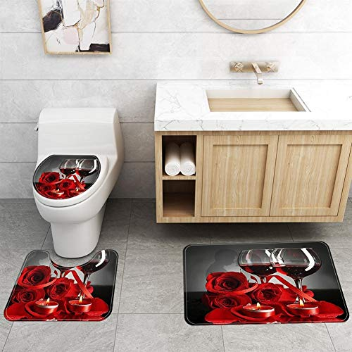 DHTOMC Bathroom Rug 3PCS Bathroom Waterproof Shower Curtain Rose Flower Pattern Bathroom Toilet Seat Cover Pedestal Rug Bath Mat Red Non Slip Pedestal (Color : Red, Size : One size)