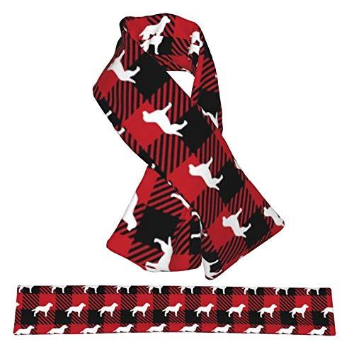 Bufanda cruzada de franela Labrador Retriever Buffalo Pañuelos de cuello a cuadros de felpa de doble cara, suave y liviana para mujeres, hombres y adolescentes