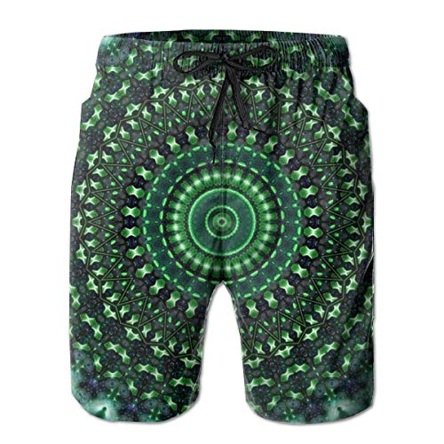 KAKICSA Swim Trunks Summer Green Mandala Tie Dye Beach Shorts Pockets Boardshorts for Men(XL)