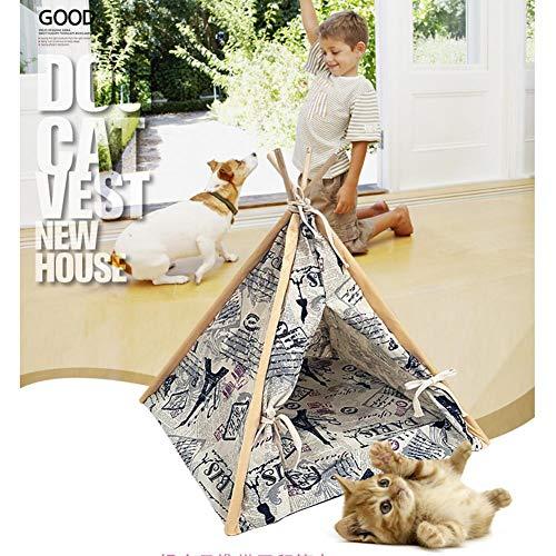 evergreemi Pet Tipi Zelt, Hund Katze Tipi, Pet Indian Canvas Zelte Kitten Puppy House Kleintier Zwinger mit abnehmbarem waschbarem Kissen, 45 × 45 × 60 cm