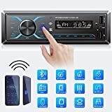 Hodozzy Single Din Car Radio Bluetooth Support App Control, Digital Bluetooth 5.0 Audio Mp3 Player Head Unit Support MIC/Dual USB/SD/AUX-in/FM Receiver 1DIN InDash Car Stereo + Steering Wheel Control