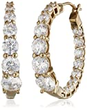 Yellow Gold Plated Sterling Silver Hoop Earrings set with Graduated Swarovski Zirconia (3.76 cttw), 1' Diameter