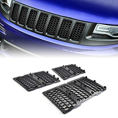 Front Honeycomb Mesh Grille Inserts Grill Cover Kit for 2014-2016 Jeep Grand Cherokee (Matte Black)