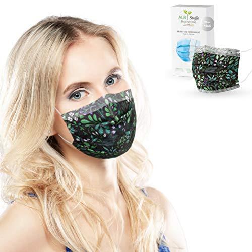 ALB Stoffe® ProtectMe - Einwegmasken HERBS, 100% Made in Germany, Nasen-Mund-Masken bedruckt, OP Masken bunt, 20er Pack
