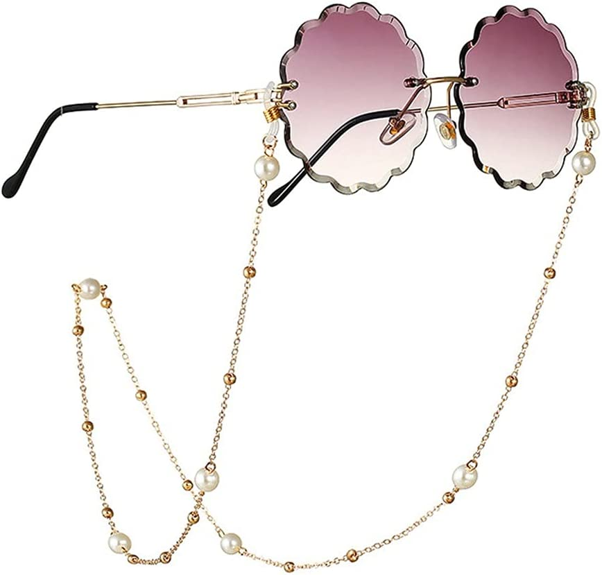 CFSNCM Glasses Chain Holder For Women Pearl Bead Chain Lanyard Glasses Strap Sunglasses Cords Casual Glasses Accessories (Color : A, Size : Length-70CM)