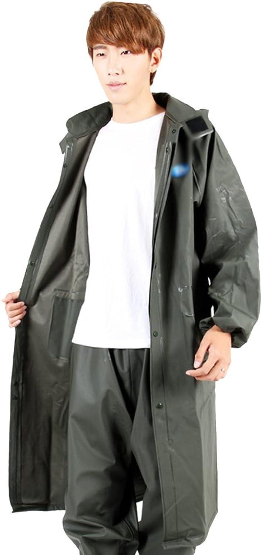 ZEMIN Rain Jacket Coat Raincoat Waterproof Poncho Long Trench Coat Travel by Walking Climbing Breathable Male Female ArmyGreen, 3 Sizes Waterproof (color   ArmyGreen, Size   XL)