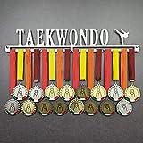 Taekwondo - Colgador de medallas Deportivas - Medallero de Pared Artes Marciales, TKD - Sport Medal Hanger - Display Rack (600 mm x 100 mm x 3 mm)