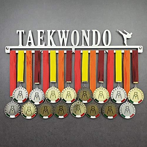 Taekwondo - Colgador de medallas Deportivas - Medallero de Pared Artes Marciales, TKD - Sport Medal Hanger - Display Rack (450 mm x 80 mm x 3 mm)