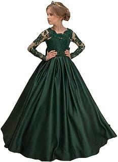 hengyud Dark Green Girls Pageant Dresses Long Sleeves Flower Girl Dress for Wedding Princess Lace