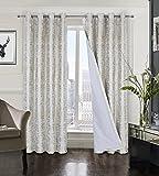 always4u Cortinas opacas 100 % terciopelo para salón con estampado dorado, brillante, elegante, opacas, aislamiento térmico con ojales, color blanco, juego de 2 unidades 175 x 140 cm