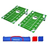 GoSports Portable PVC Framed Cornhole Toss Game Set with 8 Bean Bags and Travel Carrying Case - Choose American Flag Design, Red & Blue or Football