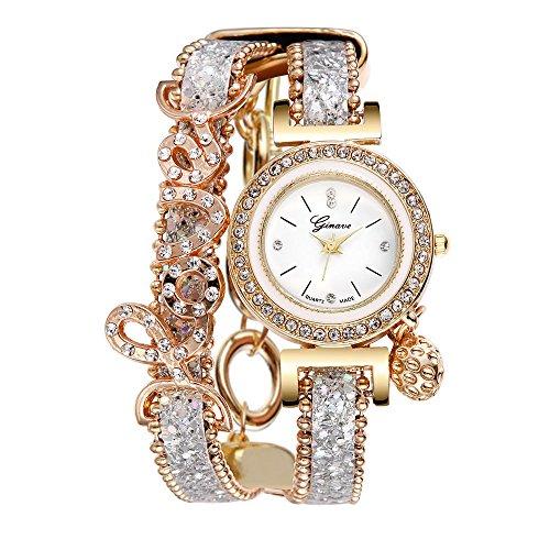 Neuer Trend Uhren Damen, Armbanduhren Strass Uhren, Frauen Casual Analoge Quarz Uhr Armband Coole Uhren Lederarmband Mädchen Frau Uhr LEEDY