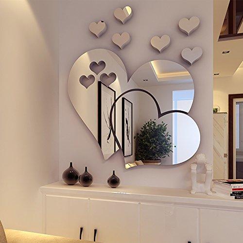 HCCY3D estéreo Cristal acrílico Carteles Amor el sofá de tu salón Restaurante Habitaciones Inicio Decoraciones de Pared de Fondo, Espejo, Plata