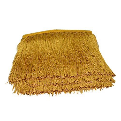 Borlas de poliéster de 25 colores, 15 cm de largo, con borde de encaje de 15 cm de largo, con flecos para bricolaje, vestidos latinos, accesorios de ropa. dorado