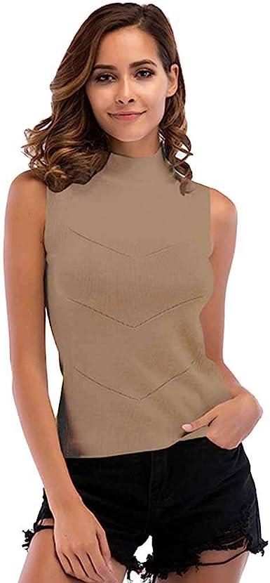 JLTPH Las Mujeres Sin Mangas De Punto Chaleco Top Cuello Alto Suéter Camisa Jersey Tops Blusa Color Sólido