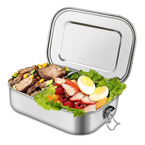 unibelin Edelstahl Brotdose Auslaufsicher Bento Box BPA frei 1400ml Lunchbox mit Abnehmbarer Trennsteg Umweltfreundliche Brotdose Große Brotbox zum Wandern/Reisen/Schule Kinder und Erwachsene