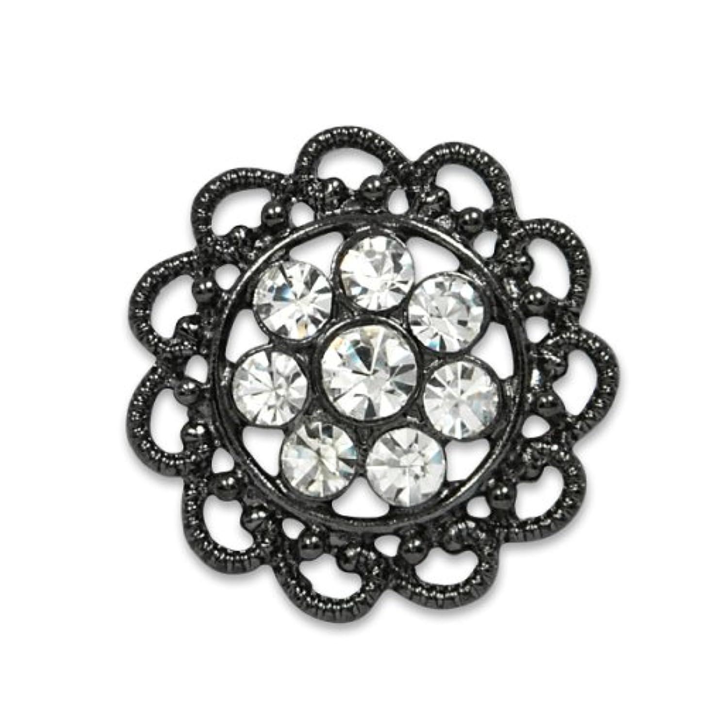 Expo Vintage Flower Filigree Rhinestone Button BTN1341GM,Gunmetal