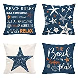 Hexagram Beach Pillow Covers 18x18 Set of 4, Light Blue Throw Pillow Covers, Starfish Beach Rules Quotes Room Decor Summer Pillow Case for Living Room Couch Bed, Outdoor Home Decor Cushion Covers