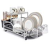 Kingrack Escurridor de platos de aluminio, 2 niveles con bandeja de goteo extraíble, soporte para cubiertos y soporte para tazas, escurridor de platos, estante para platos de cocina