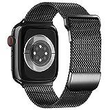 ToouYoor Compatible avec Bracelet Apple Watch 38mm 42mm 40mm 44mm, Bracelet de Remplacement en Acier Inoxydable en Métal pour iWatch Series SE/6/5/4/3/2/1,Noir,42/44mm