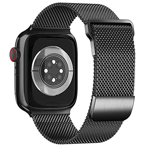 ToouYoor Correa Compatible con Apple Watch 38mm 40mm 41mm 42mm 44mm 45mm, Pulsera de Malla Metálica de Acero Inoxidable para iWatch Series SE 7 6 5 4 3 2 1,Negro,42/44/45mm