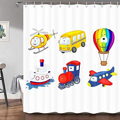 Cortina de ducha de dibujos animados para niños, modelo de transporte feliz Camper de coche Globo de aire caliente Tren de barco, Cortinas de baño para niños pequeños, Juego de cortinas de baño de tel