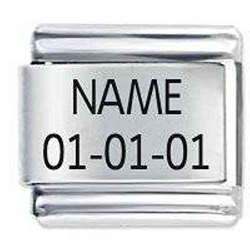 Custom Made Etched Italian Charm - Name and Date fits all 9mm Italian Style Charm Bracelets