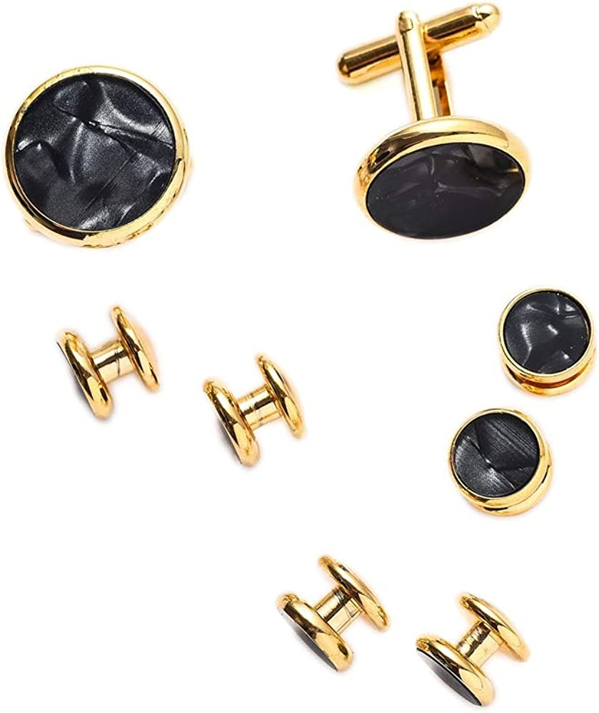 UJOY Mens Mother of Pearl Cufflinks and Studs Tuxedo Bottons Set Presentation Box Business Dress Parts for Wedding Party