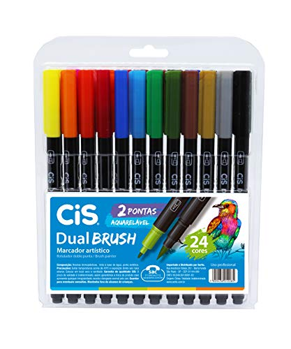 Marcador Artístico Aquarelável 2 Pontas, CiS, Dual Brush, 24 Cores