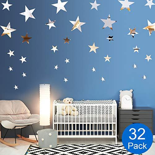 Abnehmbare Acryl Spiegel Einstellung Wandaufkleber Aufkleber für Zuhause Wohnzimmer Schlafzimmer Dekor (Stil 7, 32 Stücke)